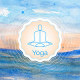 Poster for yoga class with a watercolor landscape. Royalty Free Stock Images