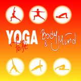 Poster of the international yoga festival. Poster of the yoga festival or for fleshmob, fitness training, sport event. with handwritten lettering, on a orange Royalty Free Stock Photo