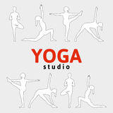 Poster for a yoga studio. EPS,JPG. Vector yoga illustration in red, white, gray and black colors. Poster for a yoga studio. Title (home) page for the yoga Royalty Free Stock Images