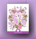 Poster with young nice girl with long pink hear with princess cr. Own in the garden of roses. Good for greeting card for birthday, invitation or banner. Stock vector illustration