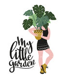 Poster with young woman cultivating home tropical plants and text - `My little garden`. Hand drawn vector illustration. vector illustration