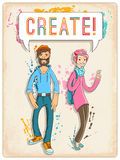 Poster with young woman and man, creative characters. Vector illustration, eps10. Stock Photos