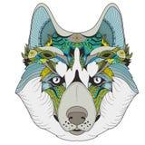 Poster with zenart patterned husky. Color zenart illustration of husky with tribal mandala patterns. Use for print, t-shirts Royalty Free Stock Photography