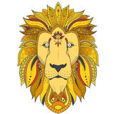 Poster with zenart patterned lion. Color zenart illustration of lion with tribal mandala patterns. Use for print, t-shirts Stock Photography