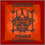 Poster Zombie Outbreak. Zombie Apocalypse. Sign board with zombie, hand-written fonts, words Zombie Outbreak Biohazard Keep Out and textures. vector Royalty Free Stock Photography