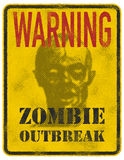 Poster Zombie Outbreak. Sign board with zombie face, hand-written fonts, words Zombie Outbreak Leave. Vector illustration. Eps8 Royalty Free Stock Image