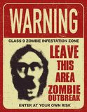 Poster zombie outbreak sign board. Poster zombie outbreak. Sign board with zombie, words Zombie Outbreak Leave This Area. Vector illustration Royalty Free Stock Image