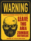 Poster zombie outbreak sign board Royalty Free Stock Image