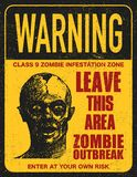 Poster zombie outbreak sign board Royalty Free Stock Photo