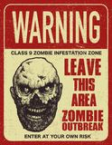 Poster zombie outbreak sign board. Poster zombie outbreak. Sign board with zombie, words Zombie Outbreak Leave This Area. Vector illustration Stock Image