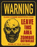 Poster zombie outbreak sign board Stock Photography