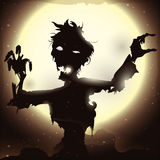 Poster with Zombie Rising in a Full Moon Night, Vector Illustration. Magnificent view of the full moon with glows and a zombie rising from his grave on a terrify Royalty Free Stock Photography