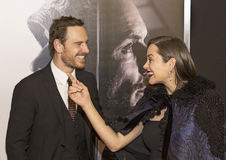 Posterboy Michael Fassbender is Teased by Marion Cotillard Royalty Free Stock Images
