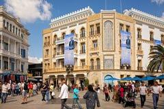 Posteres da eleição no edifício em Tunes fotografia de stock royalty free