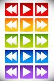 Posteriores coloridos, el juego y remiten - Fastforward los botones multi Fotos de archivo