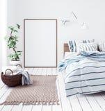 Postermodell in neuem skandinavischem boho Schlafzimmer stockfotos