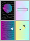 Posters with abstract forms, geometric style 80`s, memphis. Retro-art for covers, banners, flyers and posters. Vector illustration Stock Photography