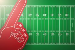 Posters of american football field and fun finger. Sports background and symbol. Space for text. Vector Illustration Royalty Free Stock Images