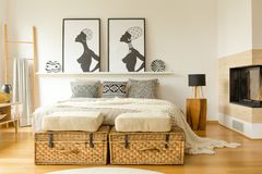 Free Posters And Double Bed Royalty Free Stock Images - 116807579