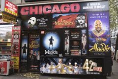 Free Posters And Flyers Advertising Musical Shows Like Chicago, Aladdin And Matilda On A Wall In Royalty Free Stock Photo - 136862885