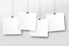 Posters on binder clips. White notepad paper templates. Realistic  illustration. Empty mockup frames for your drawings. Quotes or lettering. Transparent Stock Image