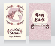 Posters for bridal shower with cute unicorn and floral frame Royalty Free Stock Photo