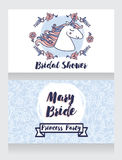 Posters for bridal shower with cute unicorn and floral frame Royalty Free Stock Photography