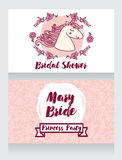 Posters for bridal shower with cute unicorn and floral frame Stock Photography