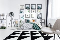 Posters of bugs and plants. Posters of various bugs and plants hanging on a white wall in a bedroom interior stock photos