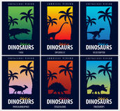 Posters collection World of dinosaurs. Prehistoric world. T-rex, Diplodocus, Velociraptor, Parasaurolophus, Stegosaurus, Tricerato Stock Image