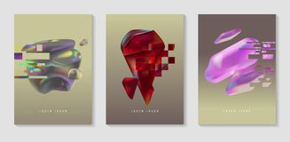 Posters, Covers with Glitch Effect and Bauhaus Fluid Shapes. Abstract Futuristic Hipster Design Set for Placard, Banner Stock Photos
