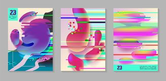 Posters, Covers with Glitch Effect and Liquid Fluid Shapes. Abstract Futuristic Hipster Design Set for Placard, Banner, Flyers. Vector illustration Stock Images