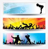 Posters of dancing girls and boys. Set Posters of dancing girls and boys Stock Image