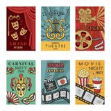 Posters design set with theatre and cinema symbols. Vector illustrations isolate stock illustration