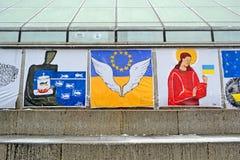 Posters on Euro maidan meeting in Kiev, Ukraine, Stock Images
