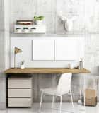 Posters in home office, Scandinavian Style, decoratio. N 3d render, 3d illustration Stock Photography