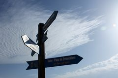 Posters that indicate several directions in a tourist place of Alicante, in Spain with a blue sky background. The photo was taken in Torrevieja, Alicante Stock Photo
