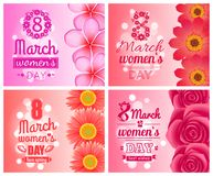 Posters on International Women Day Holiday 8 March. Posters on International Womens day holiday celebrated on 8 March, flowers decoration vector illustration Royalty Free Stock Images