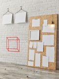 Posters mock up on brick wall background, 3d render Royalty Free Stock Image