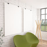 2 Posters Mock-UP In Contemporary Interior With Green Sofa Stock Image