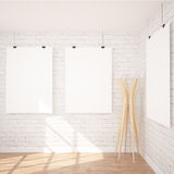 3 Posters Mock Up In Contemporary Interior. 3 Hanging Posters Mock UP In Contemporary Exhibition Interior Space With Floor Lamp. White bricks wall, industrial royalty free illustration