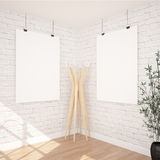 2 Posters Mock-up In Contemporary Interior. Hanging Posters Mock UP In Contemporary Exhibition Interior Space.White bricks Wall, Wooden Floor.Perfect Background vector illustration