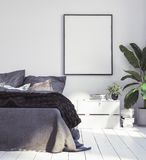 Posters mock-up in new Scandinavian boho bedroom. 3d render stock images