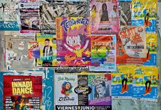Posters of music concerts in Valencia Stock Photos