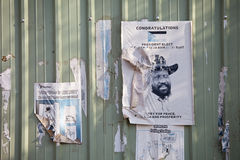 Posters regarding the vote in southern sudan royalty free stock photo
