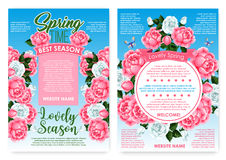 Posters rose flowers for spring holiday greetings Stock Photography