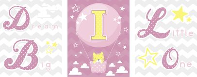Dream big baby decor initial i Royalty Free Stock Images