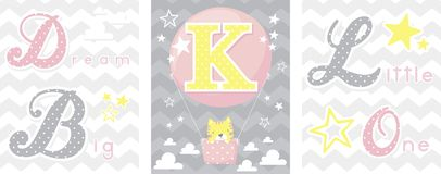 Dream big baby decor initial k Stock Image