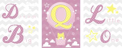 Dream big baby decor initial q Royalty Free Stock Images