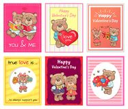 Posters Set Happy Valentines Day to You and Me. True love is always support, lovely teddy girlfriends and boyfriends bears together read books vector Stock Photo